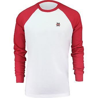 RVCA Mens VA Sport Chest Crest Long Sleeve Shirt - White/Pompei Red