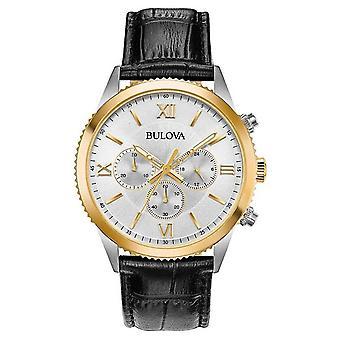 Cuir noir chronographe 98A218 Bulova femmes