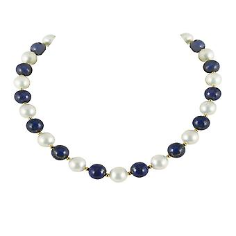 Eternal Collection Duet Lapis Lazuli And Shell Pearl Necklace