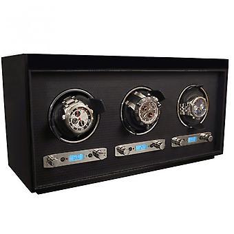 Wolf design Meridian svart tre & Chrome trippel klokke fremtrekker 2.7