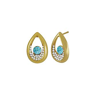 Eternal Collection Bliss Turquoise Austrian Crystal Gold Tone Stud Pierced Earrings