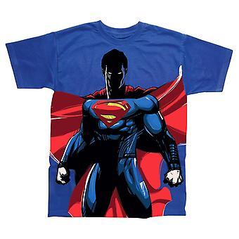 Superman de los hombres de pie en toda impresión camiseta