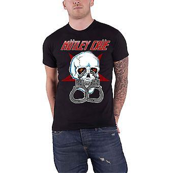 Motley Crue T Shirt Skull Cuffs Vintage Band Logo new Official Mens Black