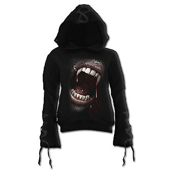 Spiral Direct Gothic GOTH FANGS - Black Ribbon Gothic Hoody Black|Vampire|Fangs|Blood