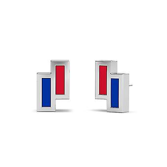 Southern Methodist University Sterling Silver Asymmetric Enamel Stud Earrings In Red and Blue