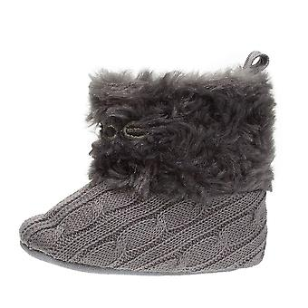 bebe Infant Girls Knit Boots with Cuffs Soft Lightweight Slip-On Shoes