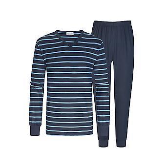 Mey 11289-668 Men's Yacht Blue Gestreepte Katoenen Pyjama Set