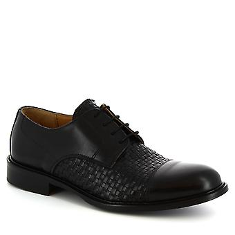 Leonardo Shoes Men's main made lace-ups smart shoes black woven calf leather