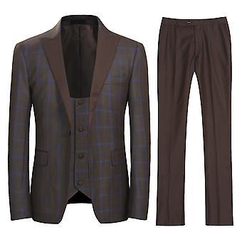 Allthemen mænds plaid Suit 3 stykker (blazer + bukser + vest)