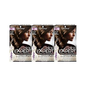Schwarzkopf Color Expert 4.0 Dark Brown Omegaplex Permanent Hair Dye x 3 Pack