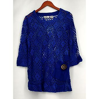 OSO Casuals Top Open Knit 3/4 Sleeve Tunic Navy Blue Womens A415703