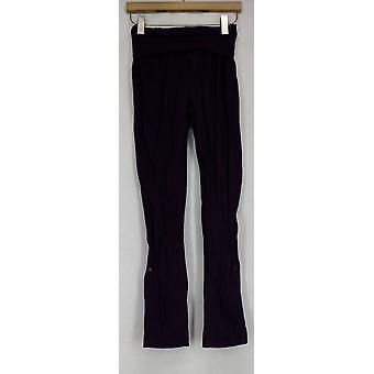 Wendy Williams Pants Stretch Knit Foldover Pants Purple Womens 478-090
