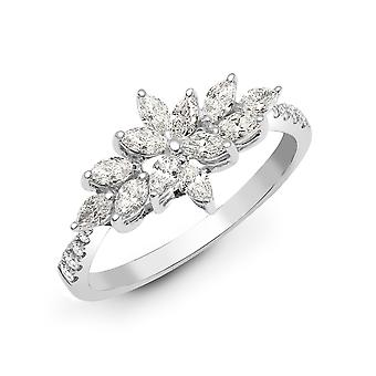 Jewelco London Solid 18ct White Gold Claw Set Marquise G SI1 0.66ct Diamond Starburst Cluster Ring 9mm