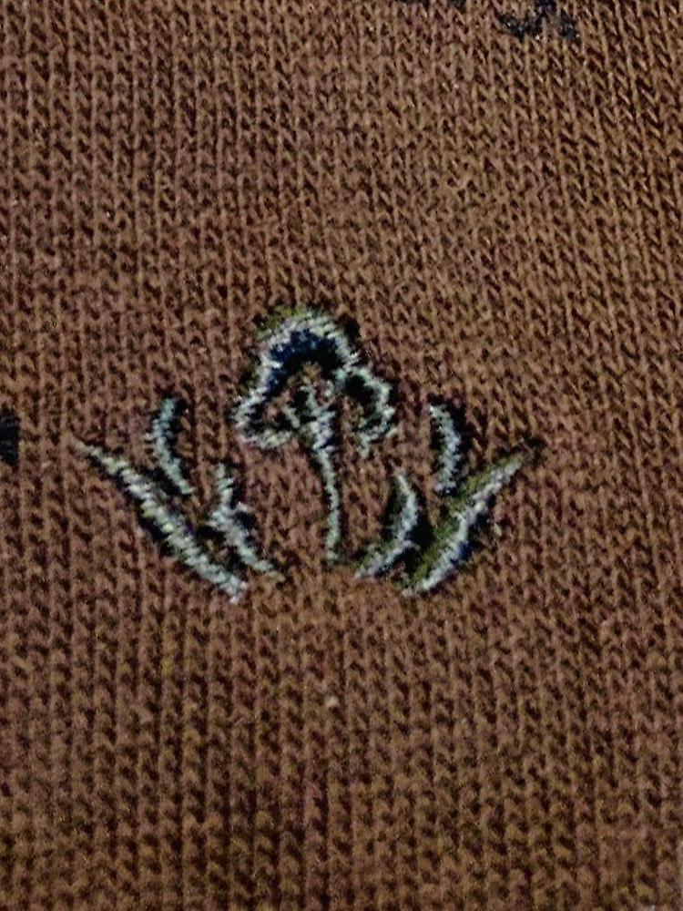 Pheasant motif soft cotton socks – mocha