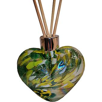 Amelia Art Glass Heart Shaped Reed Diffuser Green White & Yellow