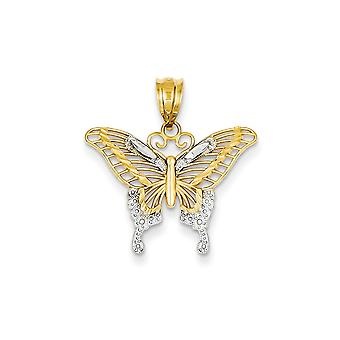 14k Yellow Gold Textured Polished and Rhodium Sparkle-Cut Butterfly Pendant - 1.2 Grams