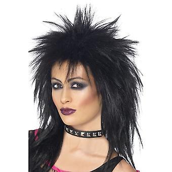 Las mujeres negro Rock Diva peluca disfraces accesorios