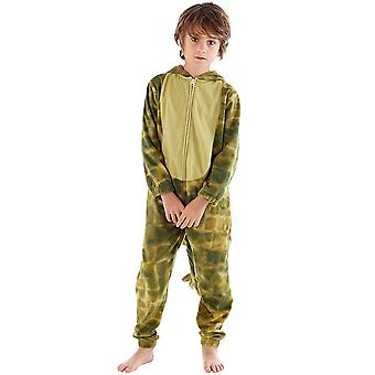 ONE07 Boys Kids Hooded Dinosaur Fleece All In One Nightwear Sleepsuit Jumpsuit