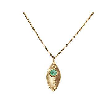 GEMSHINE pingente colar sólido 925 prata, banhado a ouro ou rosa-verde esmeralda