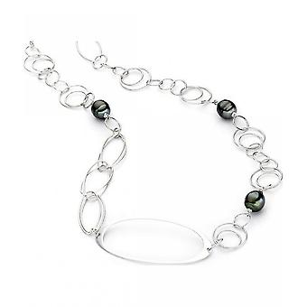 Luna-Pearls Silver Necklace with Tahiti Pearls 90cm 205866