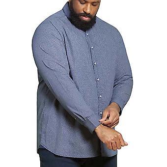 Duke D555 Hombres Grande Alto Ayton Manga Larga Dimond Camisa de cuello impreso - Marina