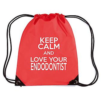 Zainetto rosso gen0263 keep calm and love your endodontist