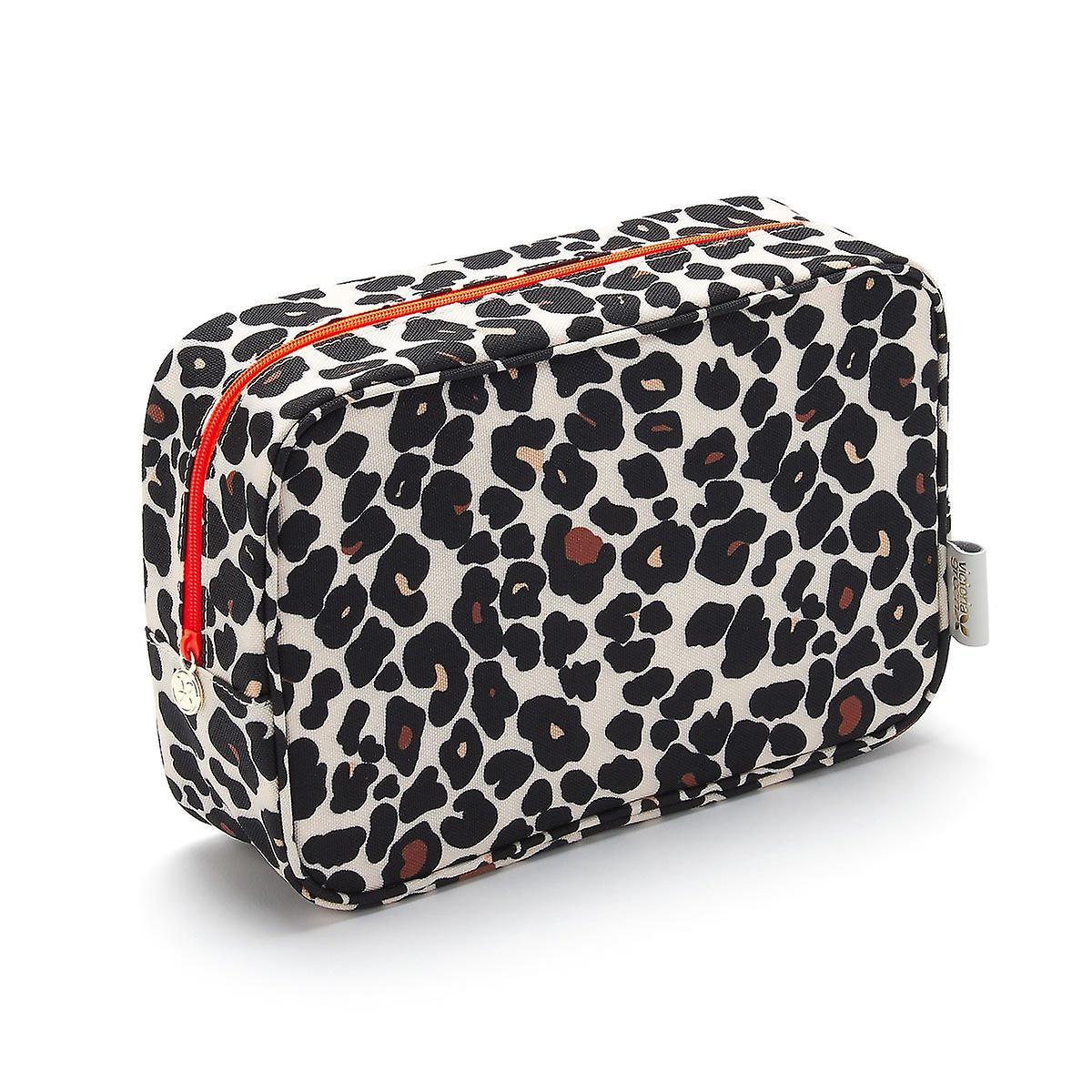 'victoria green' beauty kit case in leopard tan