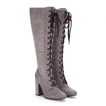 Onlineshoe Tall Knee High Block Heel Fully Laced Boot