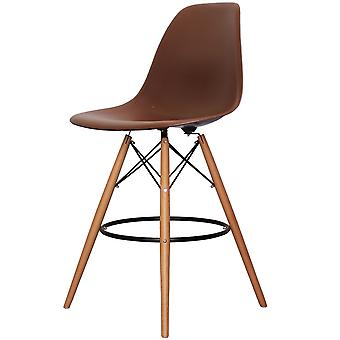 Charles Eames Style Coffee Brown Plastic Bar Stool