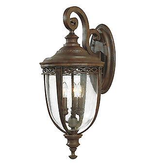 Englisch Trense drei große Lichtwand Laterne britischen Bronze - Elstead Beleuchtung