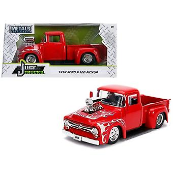 1956 Ford F-100 Pickup Truck with Blower Glossy Red with Flames Just Trucks Series 1/24 Diecast Model Car by Jada