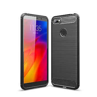 Motorola Moto E6 spelen TPU Case Carbon Fiber Optics geborsteld beschermende mouw grijs