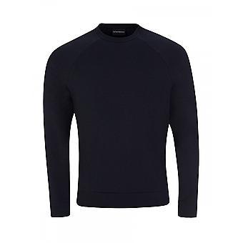 Emporio Armani Cotton Round Neck Navy Sweatshirt