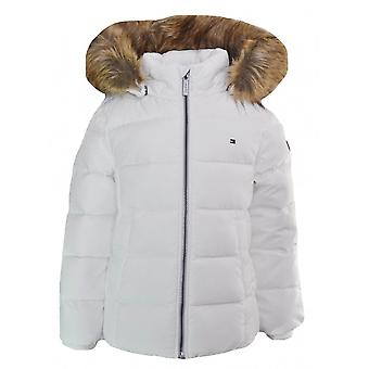 Tommy Hilfiger Girls White Faux Fur Trim Hooded Jacket