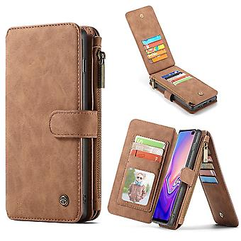For Samsung Galaxy S10+ Plus Case, Brown Leather Wallet Cover with 14 Card Slots
