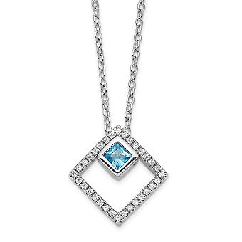 925 Sterling Silver Rh plated 5mm CZ Cubic Zirconia Simulated Diamond and Spinel With 1in. Ext. Necklace 16 Inch Jewelry