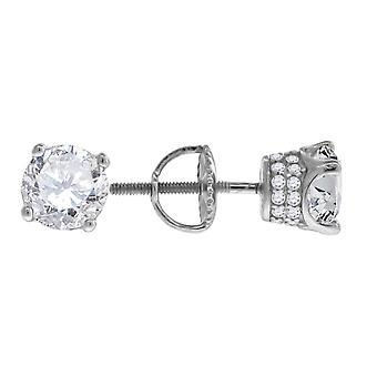 925 Sterling Silver Mens CZ Cubic Zirconia Simulerad Diamond 6mm White Stone Stud Örhängen Smycken Gåvor för män