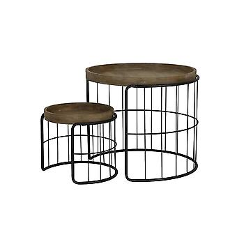 Light & Living Side Table Set Of 2 Max 68.5x59.5cm Yorito Metal Black And Wood