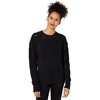 BCBGMAXAZRIA Women's Pointelle Sweater, Black, S, Black, Size Small