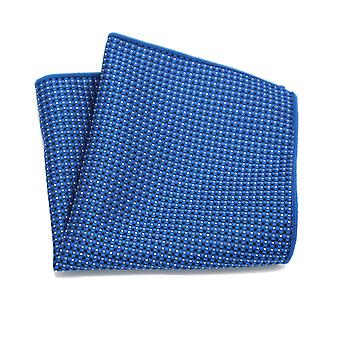Light & dark blue cross & spot pattern pocket square
