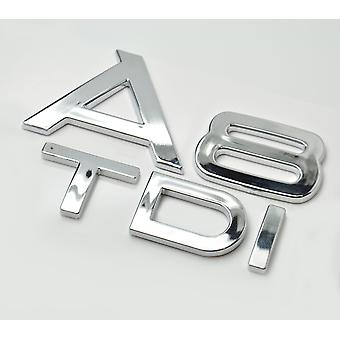 Silver Chrome Audi A8 TDI Lettering Rear Boot Lid Trunk Badge Emblem For A8 Models
