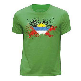 STUFF4 Pojan Pyöreä kaula T paita/Antigua ja Barbudan lippu Splat/vihreä