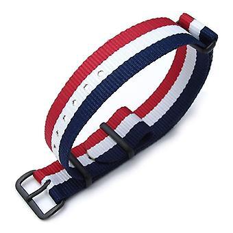 Strapcode n.a.t.o klokke stropp miltat 18mm g10 militær klokke stropp ballistisk nylon armbånd, pvd - fransk flagg utgave