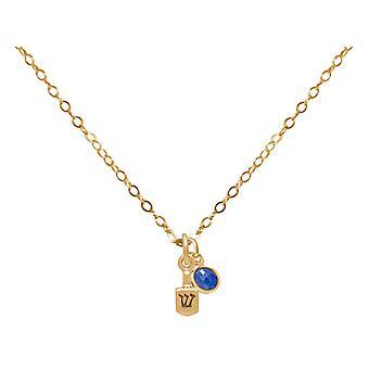 Halskette Dreidel Kreisel Chanukka mit Saphir in 925 Silber, vergoldet oder rose