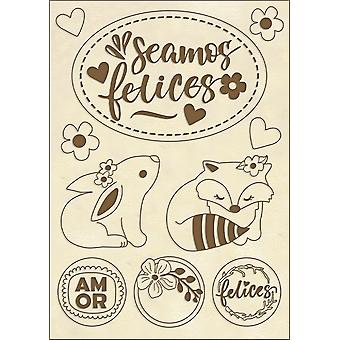 Stamperia Wooden Shapes A6 Seamos Felices