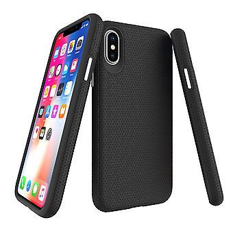 لiPhone XS وX القضية، درع أسود سليم واقية من الصدمات غطاء الهاتف الواقي