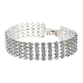 Aeon 5 Row Rhodium Plated Rhinestone Cuff Bracelet - 7 inches