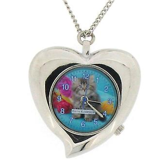 Keith Kimberlin Pussy Cat Blue Dial Ladies Necklace Watch KK8