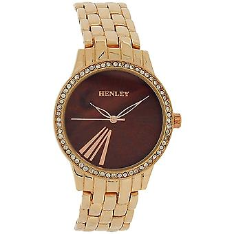 Henley Ladies Roman Numerals Brown Dial Rose Goldtone Bracelet Strap Watch H07249.42