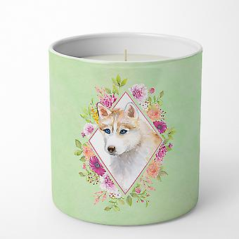 Red Siberian Husky Green Flowers 10 oz Decorative Soy Candle